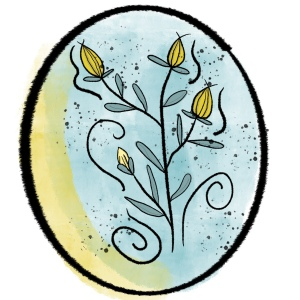 three yellow flowers and one yellow bud in a small thin-leafed bush with jazzy swirl lines and flicks of paint to add interest and movement; framed in oval